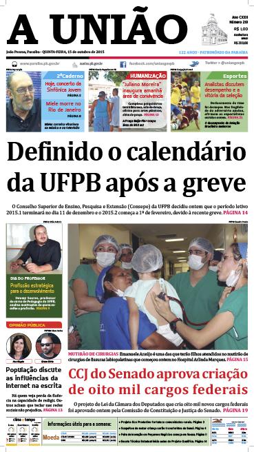 Capa A União 15 10 15 - Jornal A União