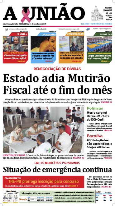 Capa A União 16 10 15 - Jornal A União