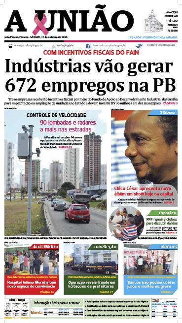 Capa A União 17 10 15 - Jornal A União