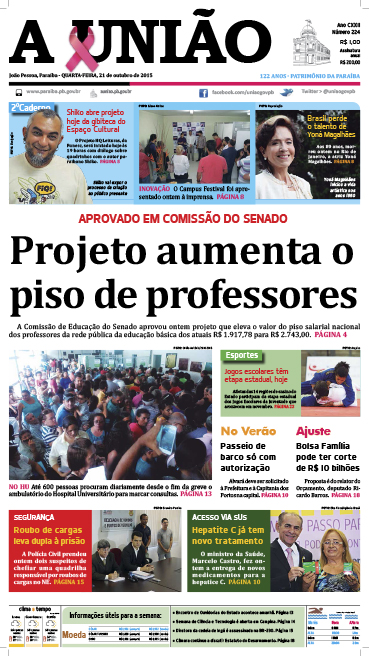 Capa A União 21 10 15 - Jornal A União