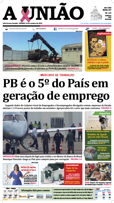 Capa A União 24 10 15 - Jornal A União