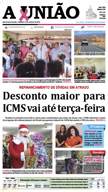 Capa A União 31 10 15 - Jornal A União