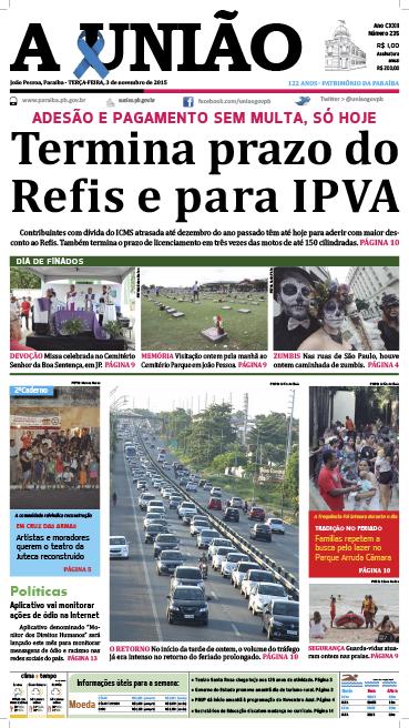 Capa A União 03 11 15 - Jornal A União