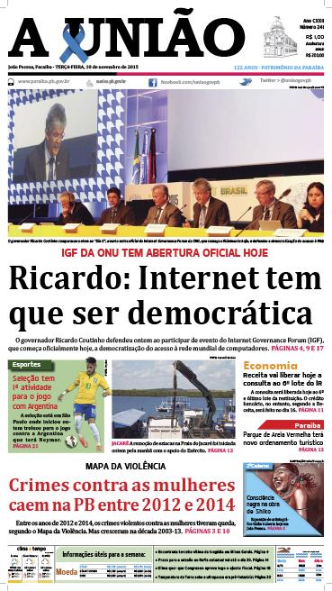 Capa A União 10 11 15 - Jornal A União