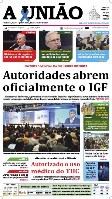Capa A União 11 11 15 - Jornal A União