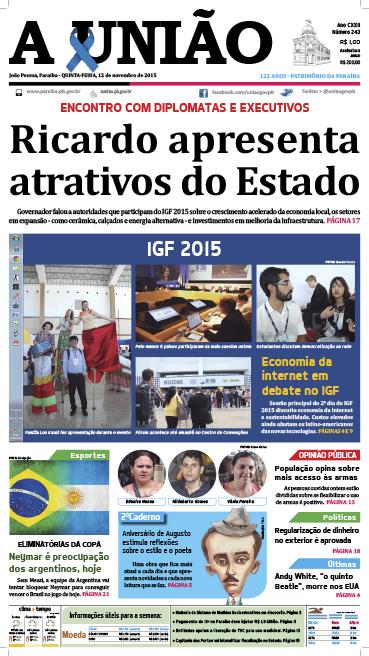 Capa A União 12 11 15 - Jornal A União