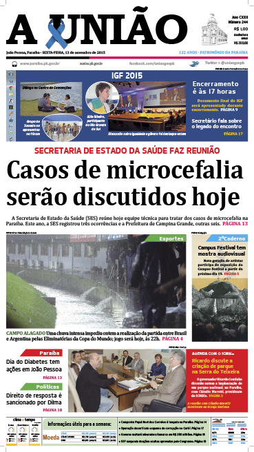 Capa A União 13 11 15 - Jornal A União