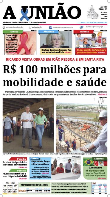 Capa A União 17 11 15 - Jornal A União