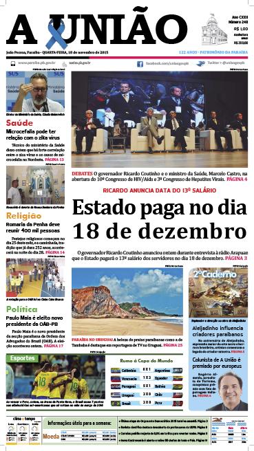 Capa A União 18 11 15 - Jornal A União