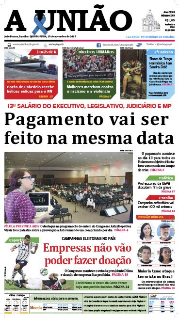 Capa A União 19 11 15 - Jornal A União