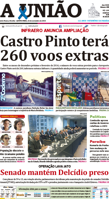Capa A União 26 11 15 - Jornal A União