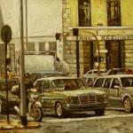 Quadro-Carlos-Djalma---Al-semaforo,-2006-(olio-su-tela,-50-x-70-cm)-ritoccata