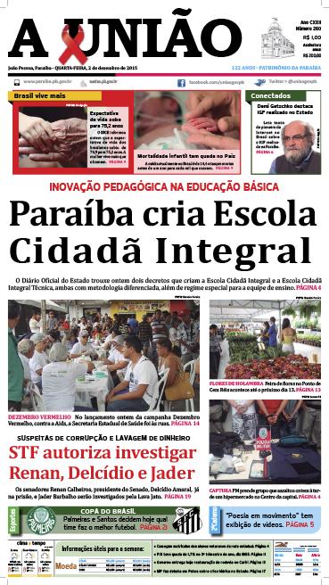 Capa A União 02 12 15 - Jornal A União