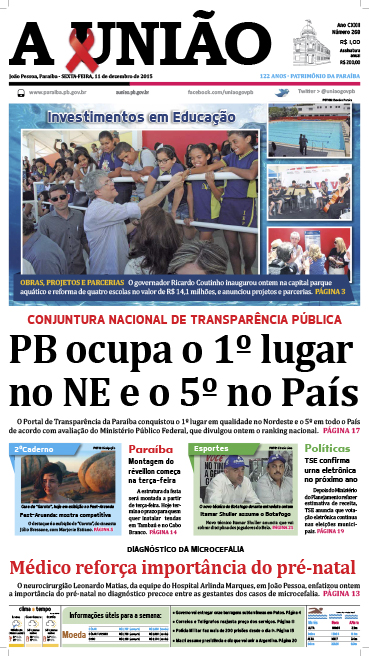 Capa A União 11 12 15 - Jornal A União