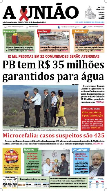 Capa A União 23 12 15 - Jornal A União