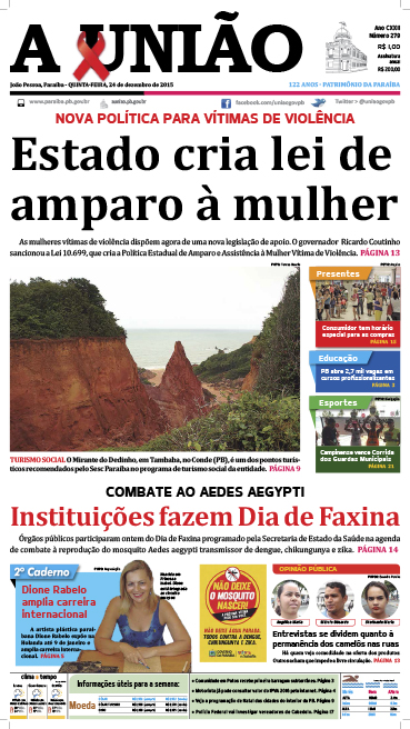 Capa A União 24 12 15 - Jornal A União
