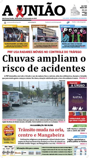 Capa A União 25 12 15 - Jornal A União