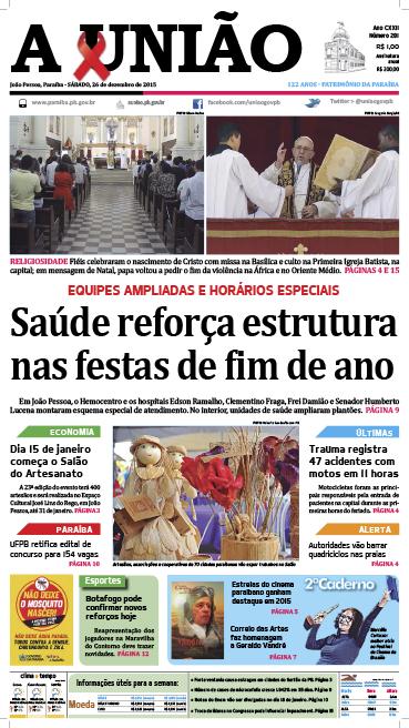 Capa A União 26 12 15 - Jornal A União