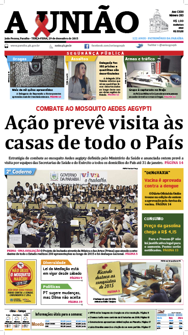 Capa A União 29 12 15 - Jornal A União