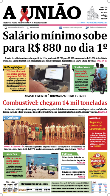Capa A União 30 12 15 - Jornal A União