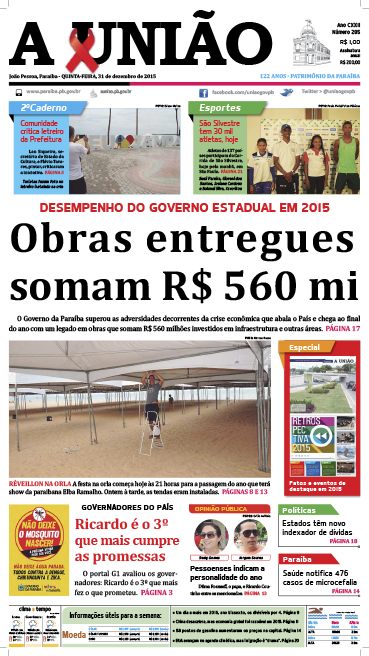 Capa A União 31 12 15 - Jornal A União
