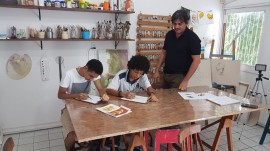 Visita a atelier de desenho aula desenho 270x151 - Em evento multicultural, Cearte apresenta mostra de cursos técnicos